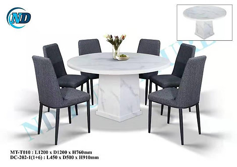 MT(T010) 6 Seater Round Marble Dining Set