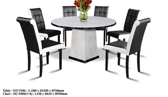 MT(T006) 6 Seater Round Marble Dining Set