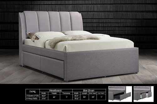 MX-103 Queen/King Bed Frame With Drawers & Pull Out Bed