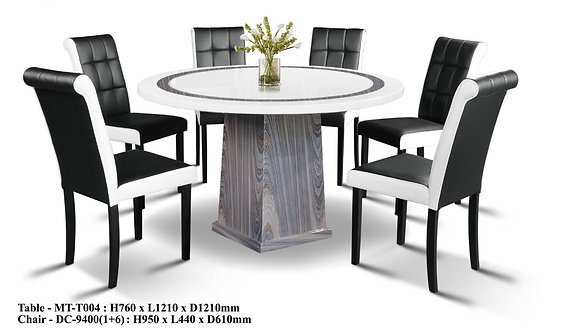 MT(T004) 6 Seater Round Marble Dining Set