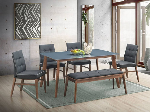 Harry 6 Seater Dining Set (Glass Top)