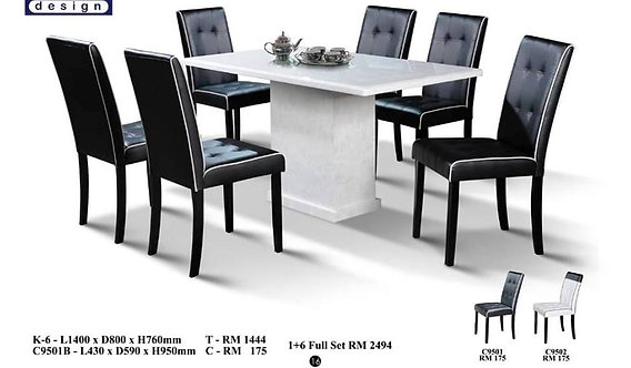K(6) 6 Seater Marble Dining Set
