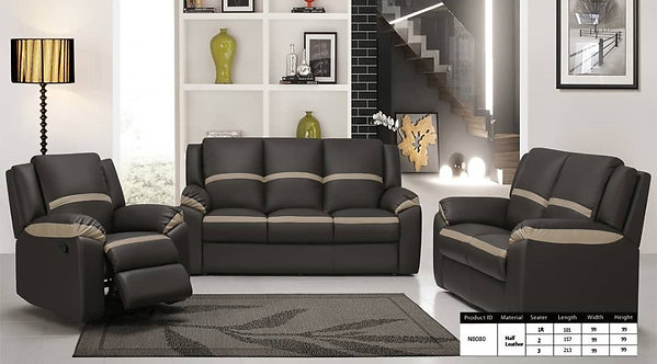 MX-N8080 Cowhide Leather 3 Seater Sofa