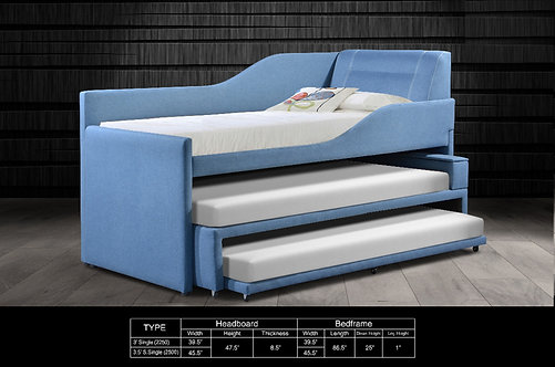 Triple Single Bed Frame With Single Pull Out Bed Frame