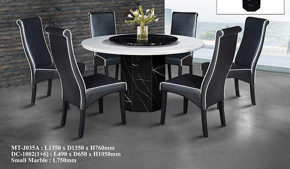 MT-J035A 6 Seater Round Marble Dining Set