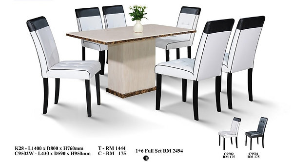 K(28) 6 Seater Marble Dining Set