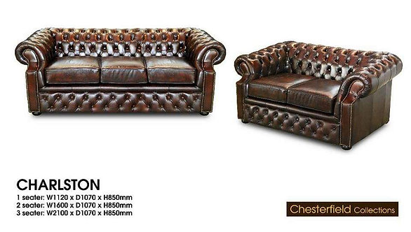 Charlston Cowhide Leather 3 Seater Chesterfield Sofa