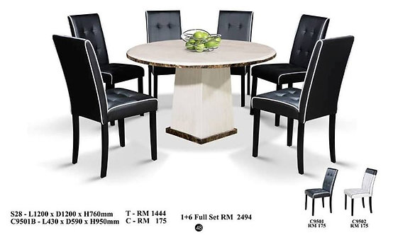 C(28) 6 Seater Round Marble Dining Set