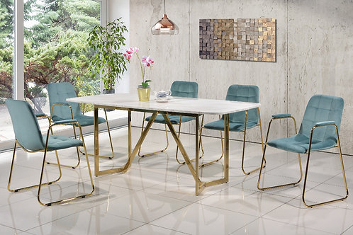 Vesta 6 Seater Marble Dining Set