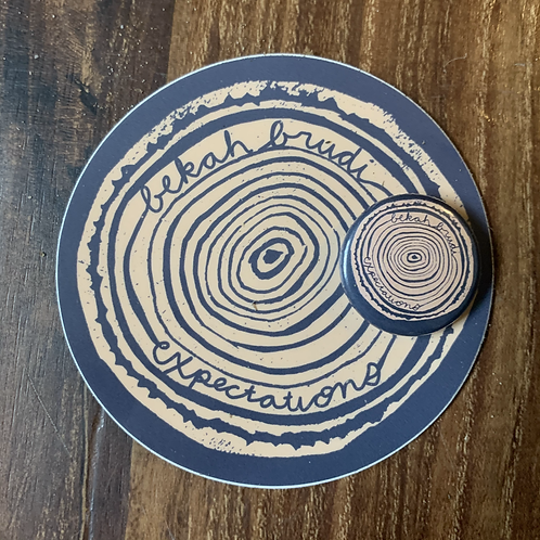 Expectations sticker and button combo