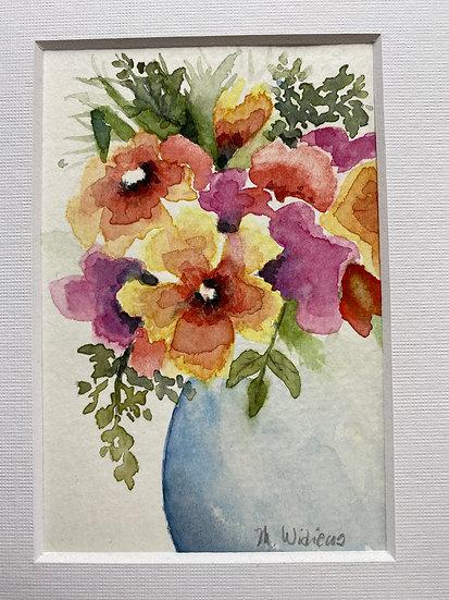 Spring Bouquet in Round Blue Vase