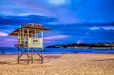 Night photo of Zicatela beach in Puerto Escondido