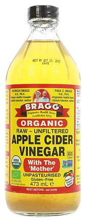 "Braggs Organic Raw Unfiltered Apple Cider vinegar, with ""mother"" as a gout cure, lowering uric acid"