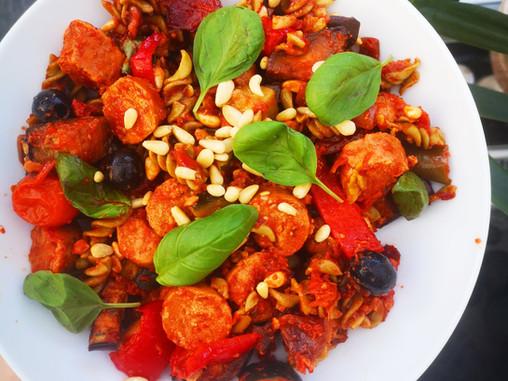 Harissa, roasted veg and sausage pasta