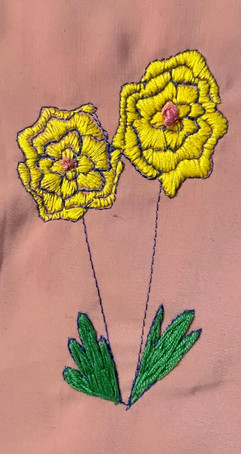 Flower one line machine and hand embroid