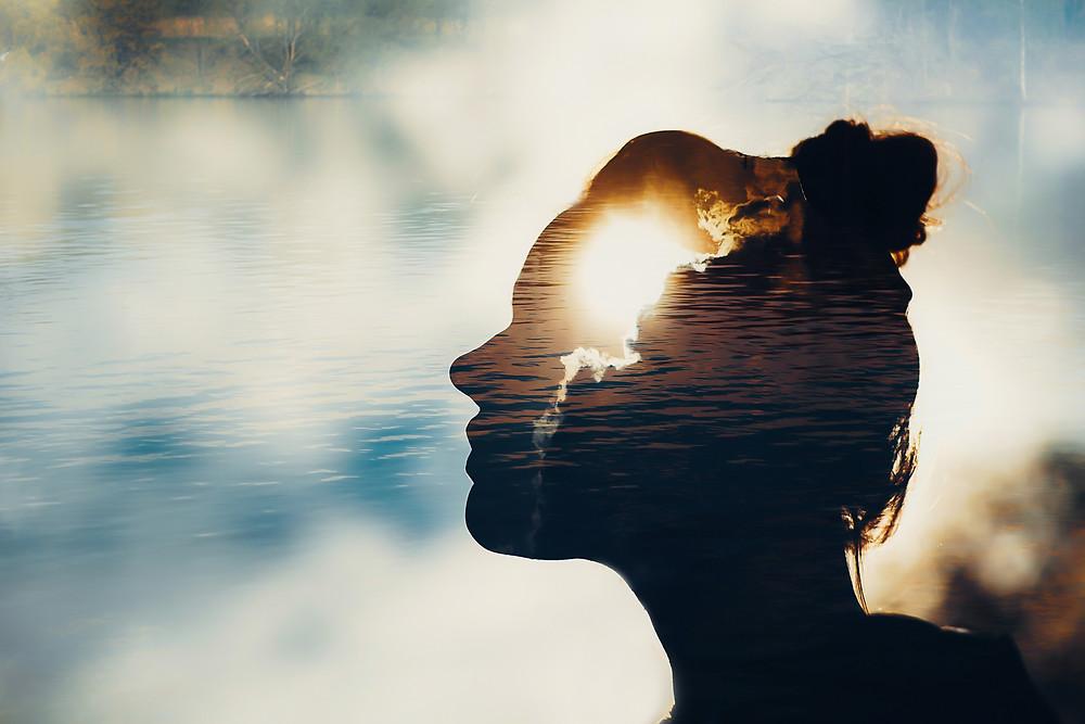 Der Artikel heißt: Warum ich als Unternehmer auch Philosoph bin. Das Bild zeigt einen See, die Silhouette eines Frauenkopfes sowie die Sonne, die hinter Wolken hervorscheint.