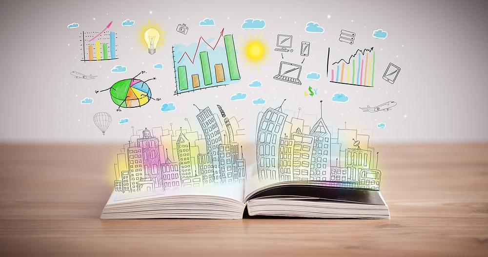 Der Artikel heißt: Warum ich nichts von New-Work-Seminaren halte. Das Bild zeigt ein aufgeklapptes Buch mit bunten Grafiken und einer Stadt die empor springen.