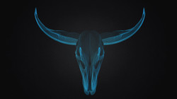Blue Wire Cow Skull