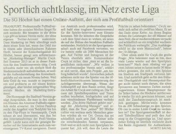 F.A.Z. Frankfurt- Interview Martin Cwyk 1.Liga
