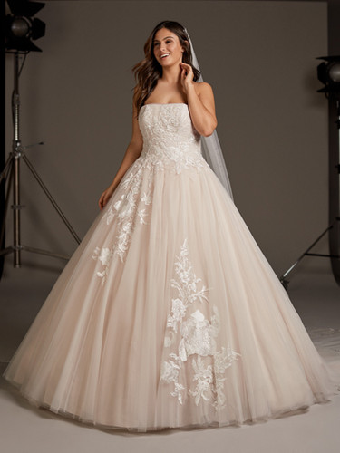 tulle, lace, ballgown, strapless, straight across