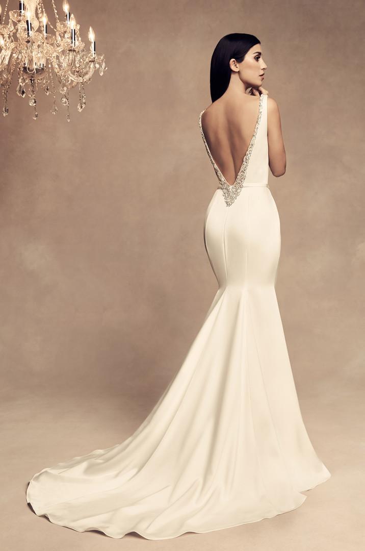 Satin Mermaid Wedding Dress Low Back Boat Neckline