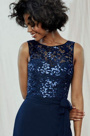 Sequin Embroidered Lace Amsale Bridesmaids