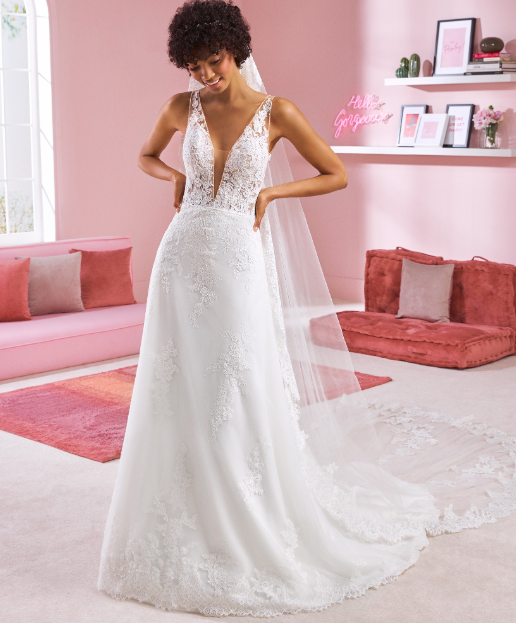 White One Gown A-Line Deep V Neckling Wedding Dress