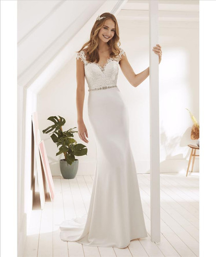 cap sleeves lace applique and crepe sheath wedding dress