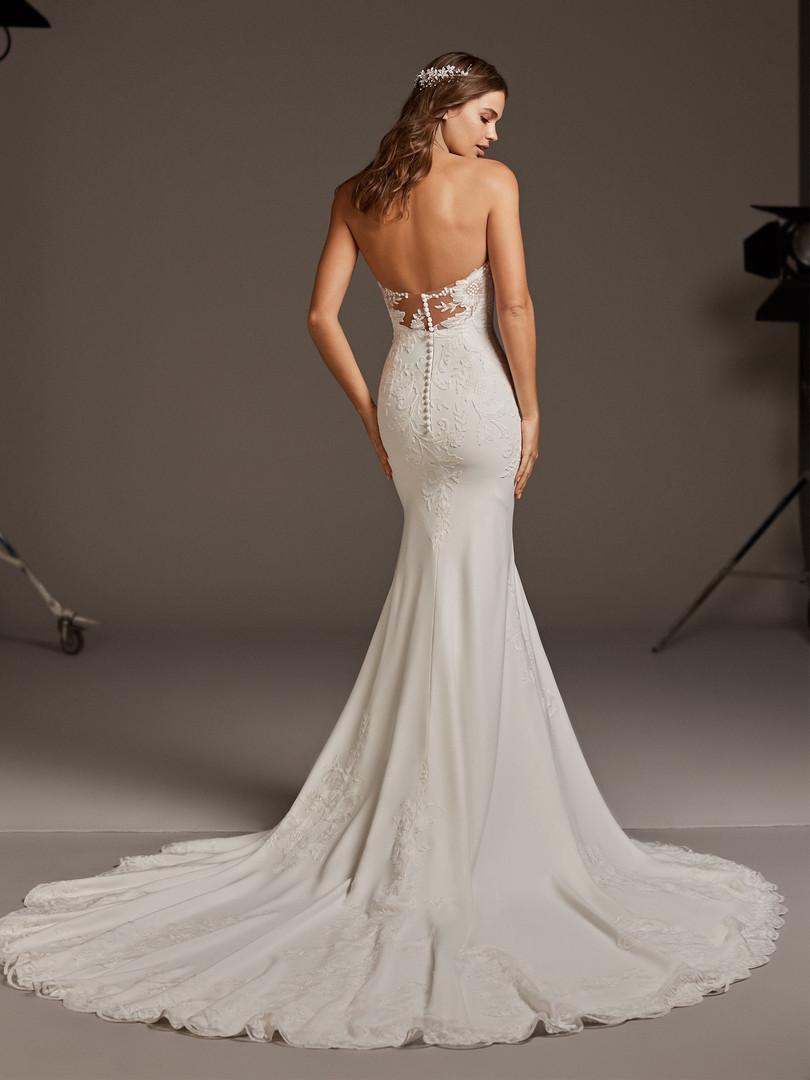 strapless lace applique crepe mermaid dress, lace train