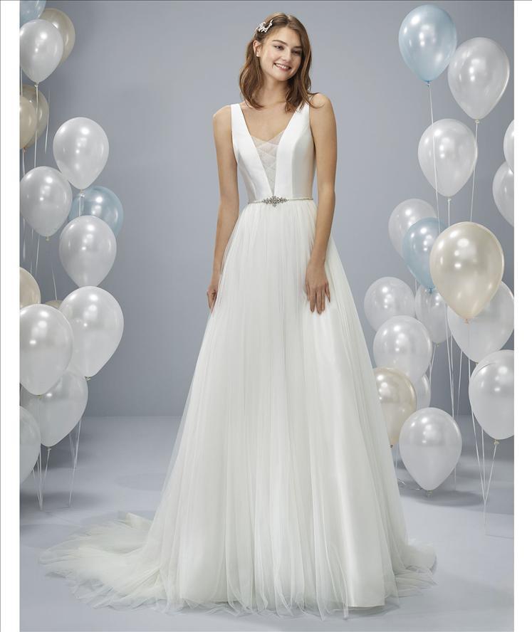 Mikado, Tulle wedding dress, A-line, criscross tulle, classic timeless modern wedding dress