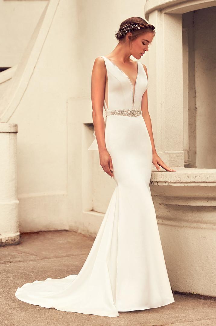 Satin Mermaid Wedding Dress Side Peek-A-Boo
