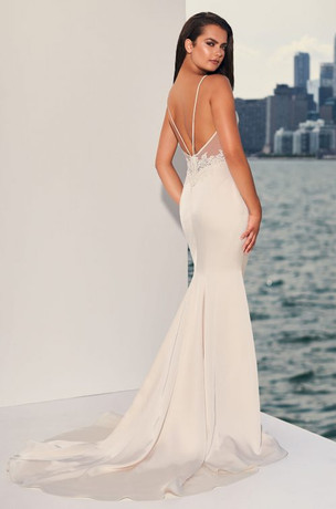 Low Back Wedding Dress Satin and Lace