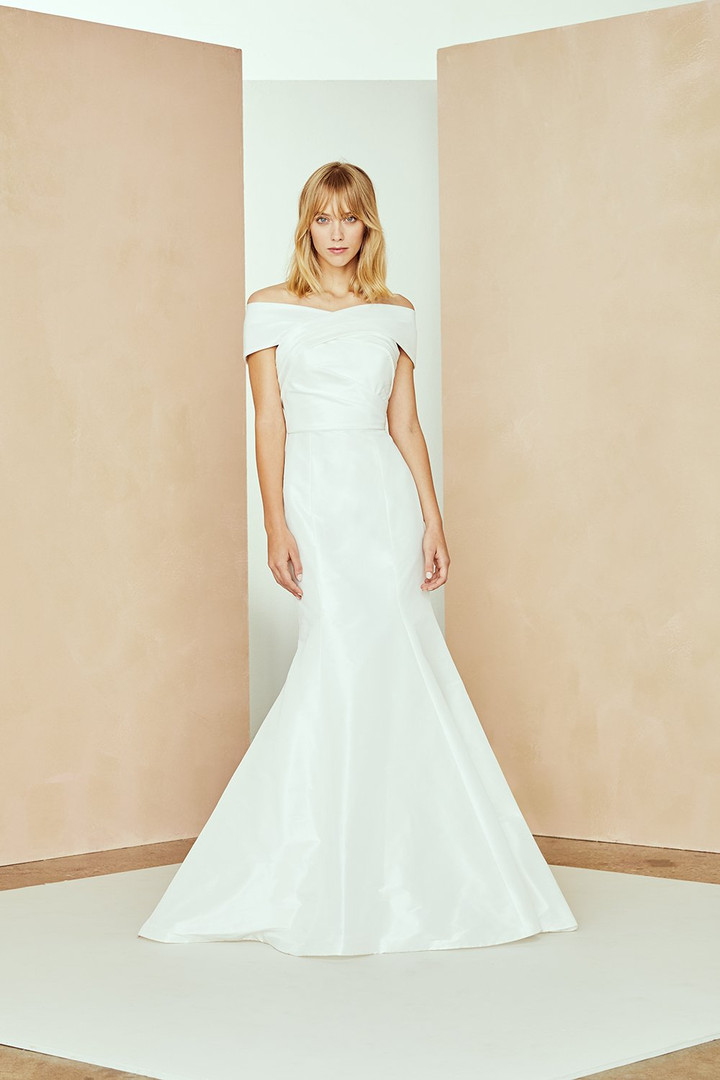 taffeta off the shoulder wedding dress