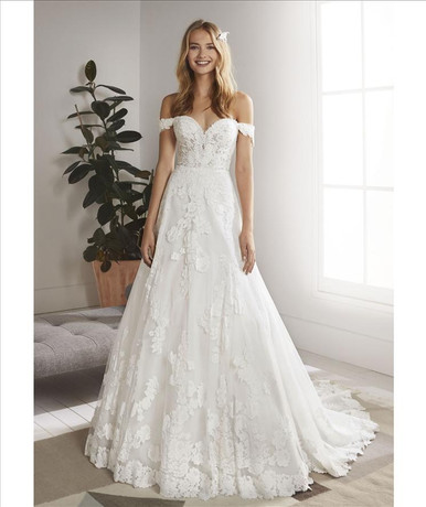 A-line, lace train, off the shoulder sleeves wedding dress
