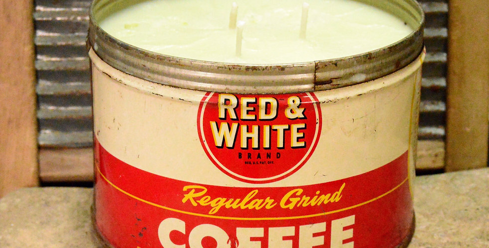 Antique Red & White Coffee Can