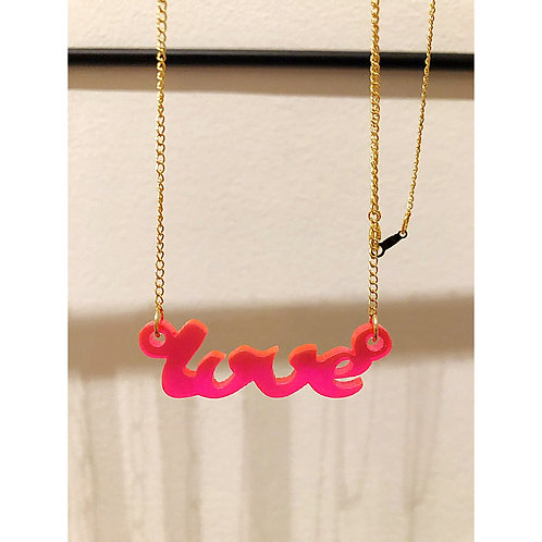 Ketting verguld LOVE fluo
