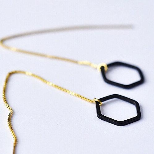 Doorsteekoorbellen open zeshoek zwart - goud