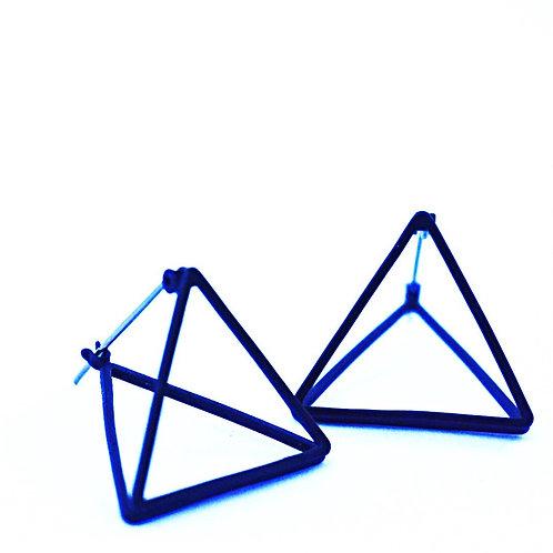 Oorbellen driehoek 3D - BLACK