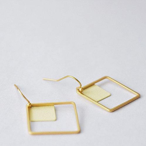 Hangers vierkantjes GOUD + ECRU