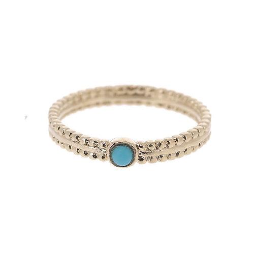 Ring verguld met steentje in turquoise