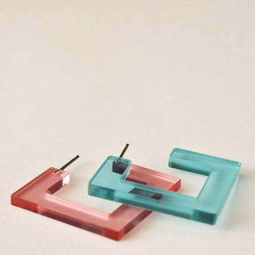 Creolen in plastic VIERKANT - meerdere kleuren!
