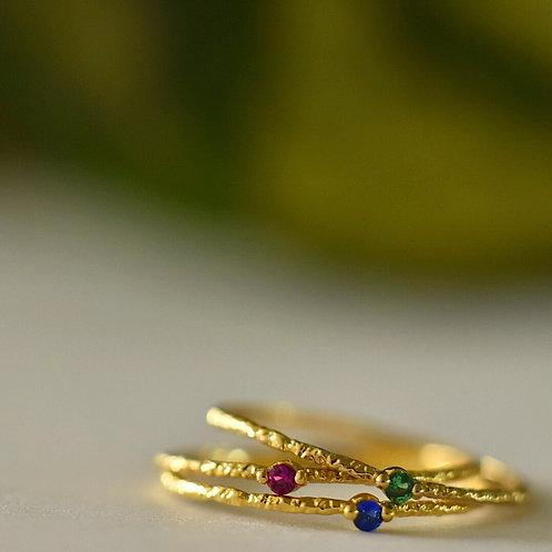 Fijne ring verguld met zirconia steentje - 4 KLEUREN