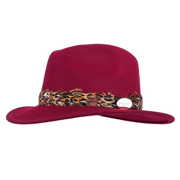 Hicks & Brown maroon fedora with pheasant feather wrap