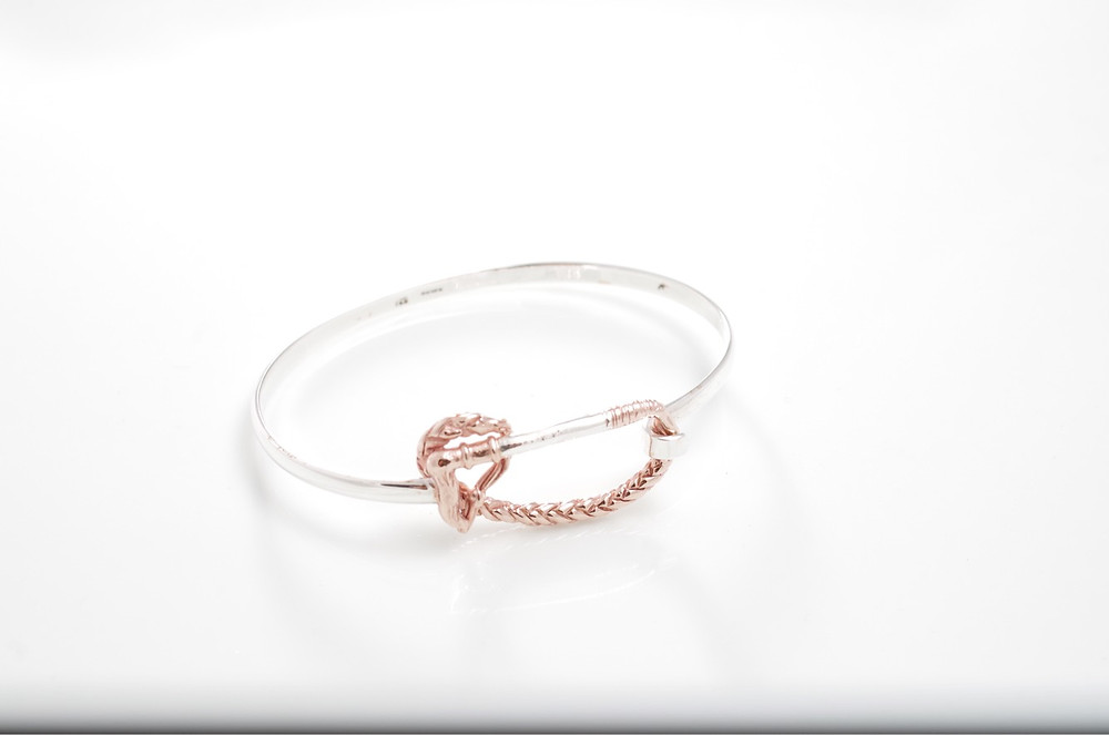 Sterling Silver & rose gold riding whip bangle