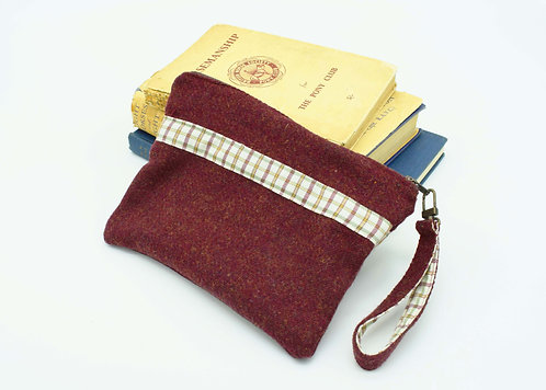 The Terling Clutch - Burgundy Tweed