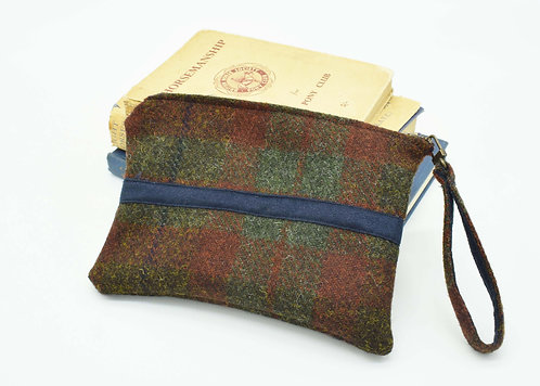 The Terling Clutch - Green/Red Check Tweed