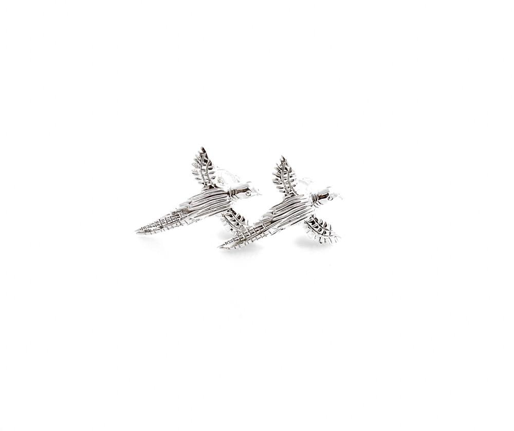 Sterling silver pheasant stud earrings