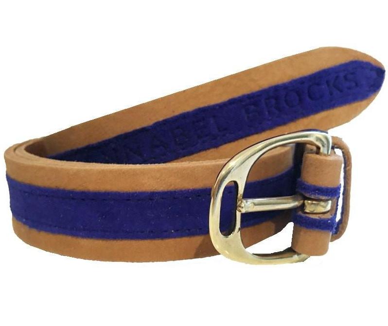 Annabel Brocks tan and cobalt blue suede belt
