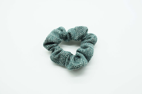 The Rivenhall Scrunchie - Teal Herringbone
