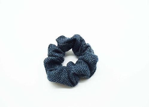 The Rivenhall Scrunchie - Navy Herringbone